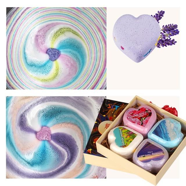 4pcs Handmade Heart Shape Bath Sea Salt ball Natural Bath Bomb Essential Oil Dried Flower Whitening Ease Stress Bubble Shower