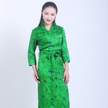 High quality Silk Cotton Boutique Tibetan costume dress embroidered Three Quarter sleeve Tibet suits Robe Can custom made Green