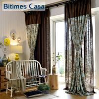Flower Tree And Bird Printing Window Curtain Drapes Big Size For Living Room Bedroom Pastoral Home Decoration