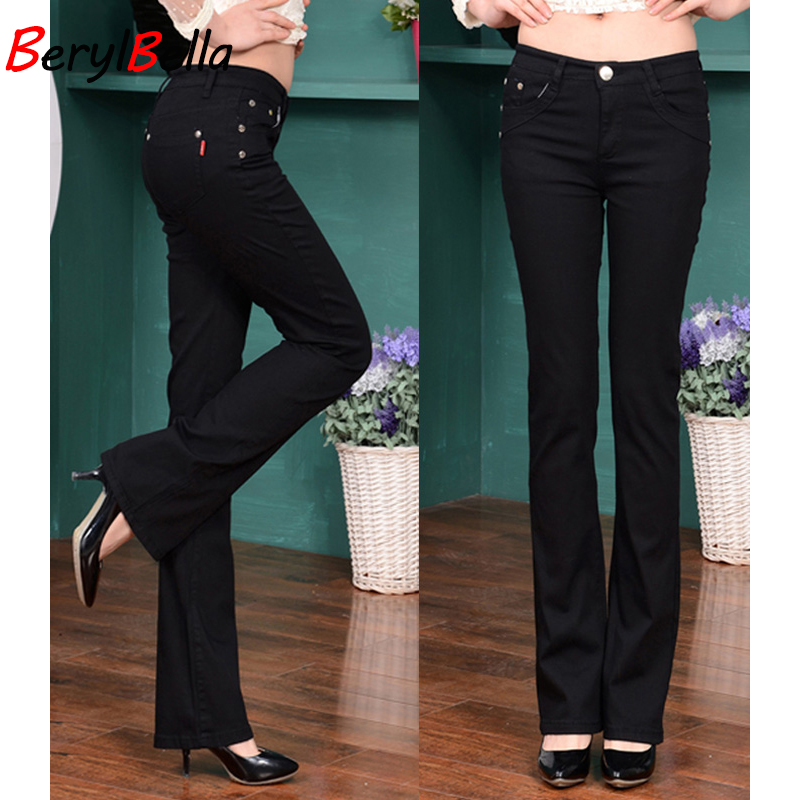 BerylBella 2018 Sweat Women Flare Pants Autumn Fashion Slim Cotton Candy Trousers Female White Ladies Mid Waist Pant Plus Size