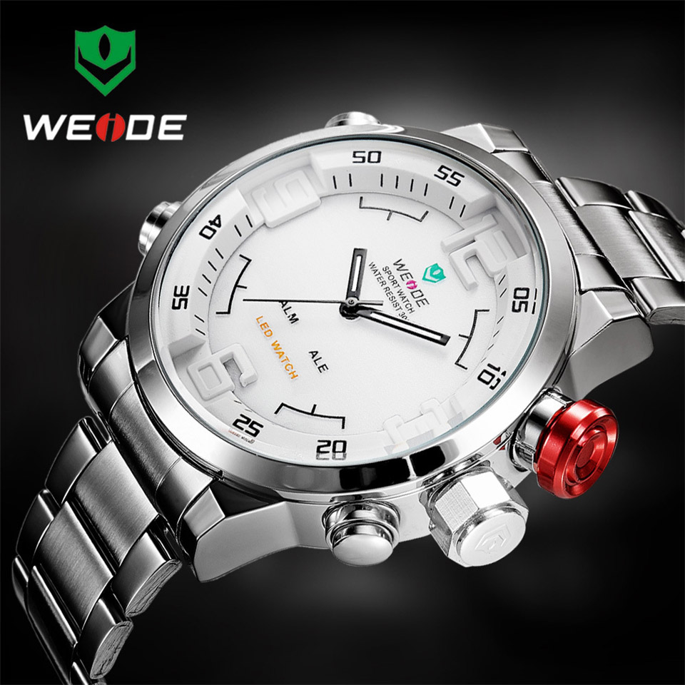 Image 5 - Top Luxury Brand WEIDE Men Full Steel Watches Men's Quartz Analog LED Clock Man Fashion Sports Army Military Wrist Watch-in Quartz Watches from Watches