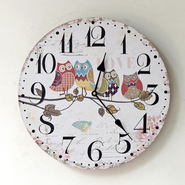 cute owl wall clock large decorative wall clocks pastoral wood vintage wall watches