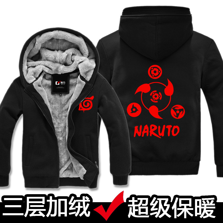 High qulity Grey Black Wool liner Warm Winter font b Naruto b font Hoodie Perucas font