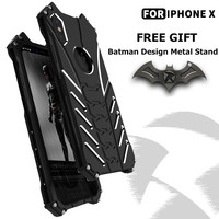 Batman Metal Case For IPhone X Slim Shockproof Rugged Military Aluminum Cover Shell With Edge Protection
