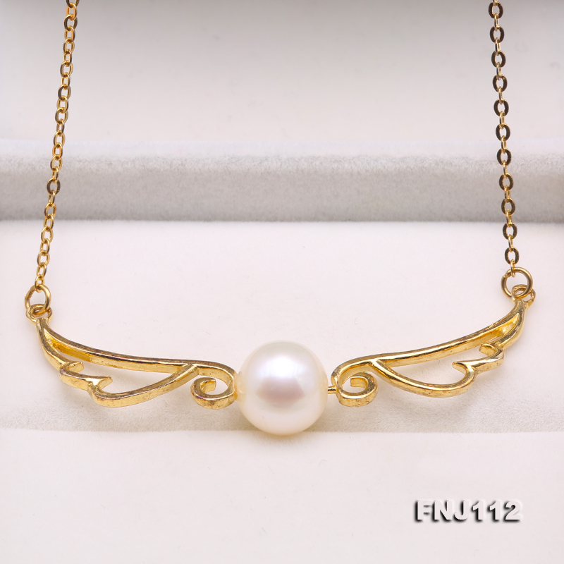 Angel Wings Perfect 9.5mm White Freshwater Pearl Necklace 925 Silver Chain Necklace 15.5'' New Fashion Women Gift Jewellery браслет с брелоками silver angel 10 diy m2398 new