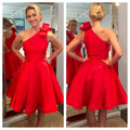 Elegant A Line Red Cocktail Dress 2017 One Shoulder Satin Design Party Dress New Arrival Knee Length vestidos de coctel morados