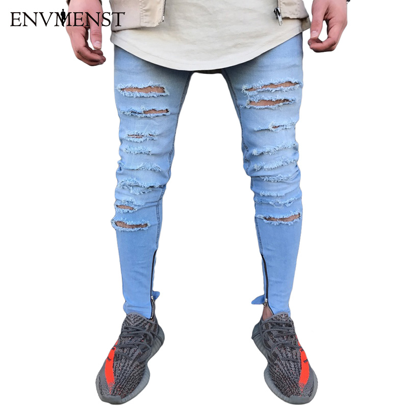 Envmenst Brand Designer Slim Fit Ripped Jeans Men Hi-Street Mens Distressed Denim Pants Knee Holes Washed Destroyed Harem Pants