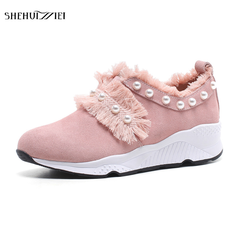 SHEHUIMEI String Bead Round Toe Women Flats Casual Fashion Footwear Pearl Woman Flat Shoes 2018 Platform Increasing Sneakers 2017 womens spring shoes casual flock pointed toe narrow band string bead ballet flats flat shoes cover heel women flats shoes