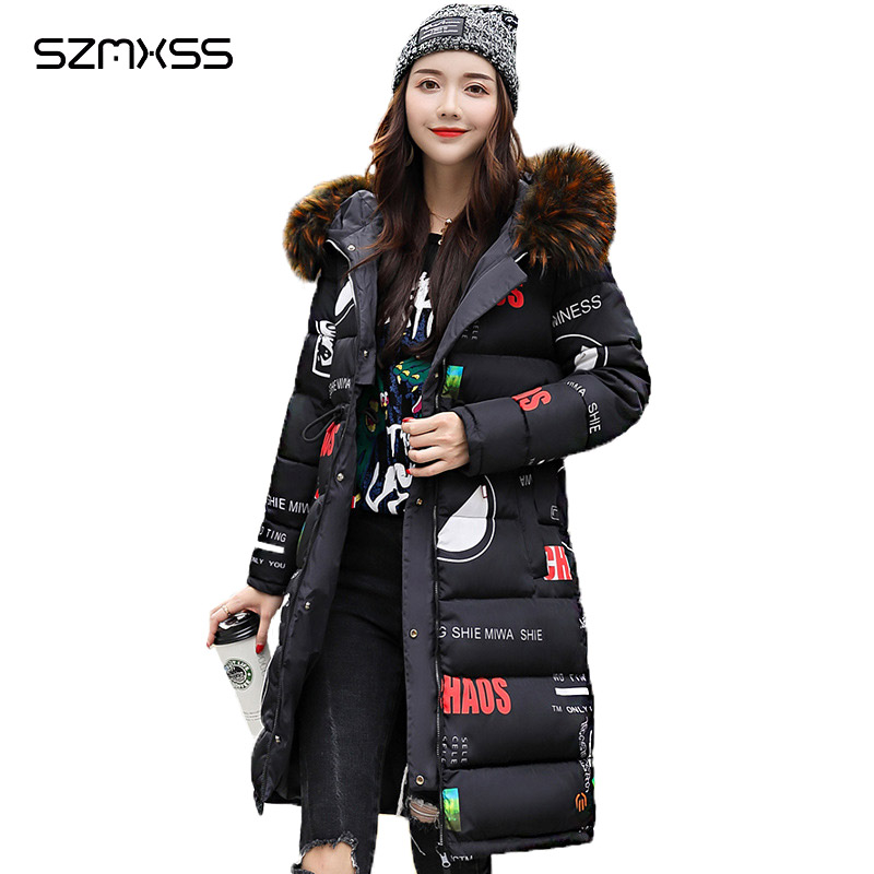 2018 winter new   Parkas   Korean version of the hooded fur collar double-sided long coat long-sleeved slim cotton clothing