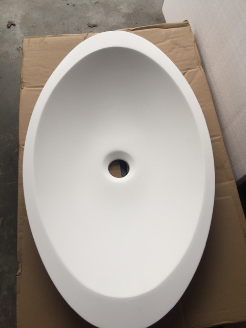 Oval Counter Top Solid Matt White Acrylic Washbasin Bathroom Corian Vessel  Sink With Drainer 24 X