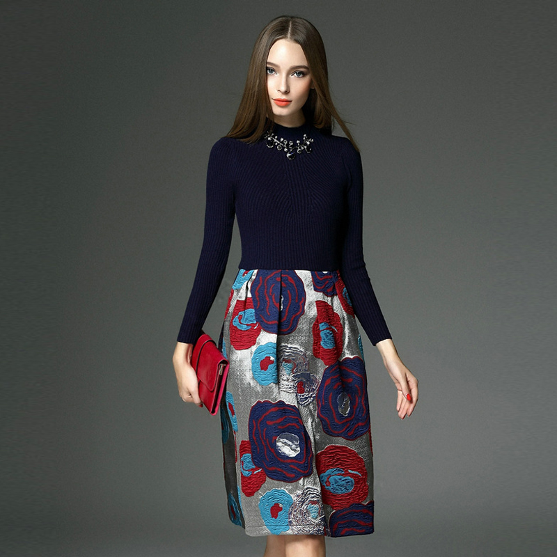 New Arrivals 2017 Women Dresses Autumn Winter Brand Long Sleeve Knitted Sweater Dresses XXL Size Print Jacquard Patchwork Dress