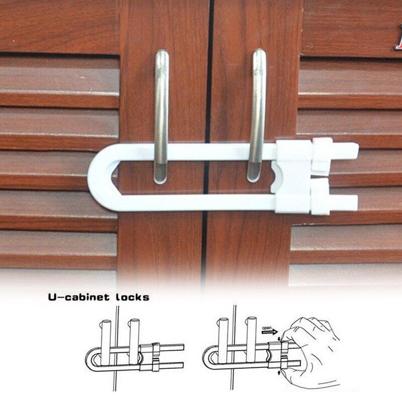 U Shape Cabinet Locks Children Protection Cupboard Security Door Lock Safe Doorways Gates Saftey Baby Safety Lock Kids Child Saf