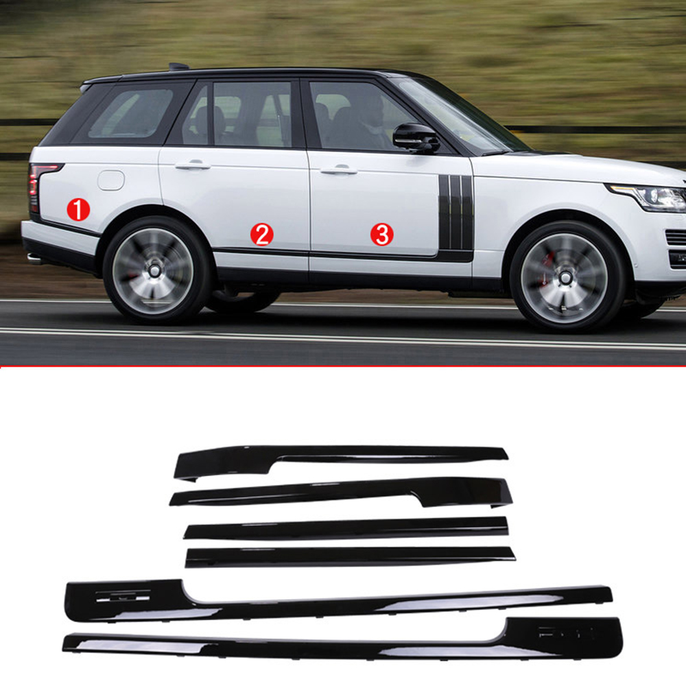 Gloss Black Car Body Side Decoration Strips Trim Base and long Wheelbase Replacement Parts For Land Rover RR voque LR405 14 17 in Chromium Styling from Automobiles Motorcycles