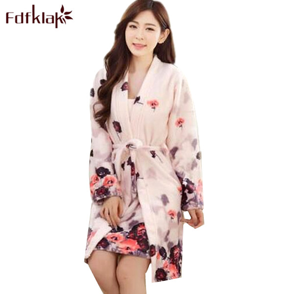Cute night dress + robe women's two pieces set home wear dresses flannel warm winter bathrobes for women robes sleepwear Q765