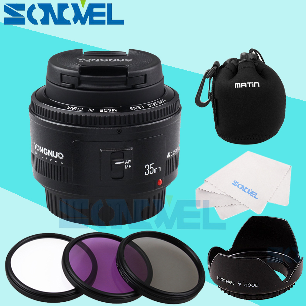 YONGNUO YN35mm F2 Lens 1:2 AF/MF Wide Angle Fixed Focus / Large Aperture Auto Zoom Lens+52mm UV CPL FLD Lens Filter For Canon