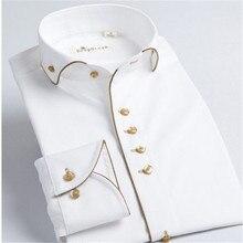 Deepocean Camicia Smoking Stili 2019 Camisa Masculina Sociale 100% Cotone Della Camicia di Marca Bianco chemise homme Francese slim Fit Camicette