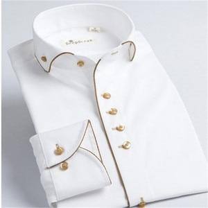 Image 1 - Deepocean Tuxedo Shirt Styles 2019 Camisa Social Masculina 100%  Cotton Brand Shirt White chemise homme French slim Fit Shirts