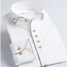 Deepocean smokin gömlek stilleri 2019 Camisa sosyal Masculina % 100% pamuk marka gömlek beyaz chemise homme fransız slim Fit gömlek