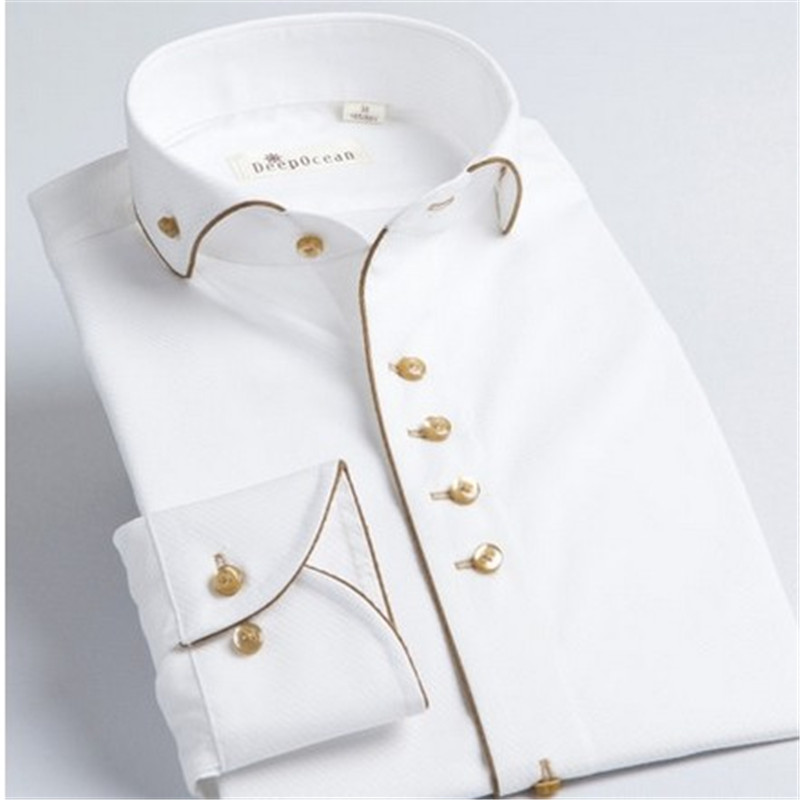 DeepoceanTuxedo chemise Styles 2017 Camisa Social Masculina 100% coton marque chemise blanc chemise homme français slim Fit chemises