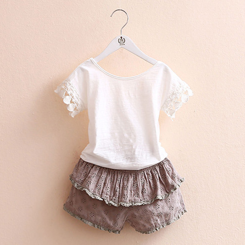 Girls Summer Sets New 2018 Lace Solid Kids Girl Clothes O-neck T-shirt+Shorts 2 Pieces Kids Clothes Girls 2918W letter print o neck collar short sleeve t shirts rose white shorts girl sets 2017 summer small kids new fashion for girls sets