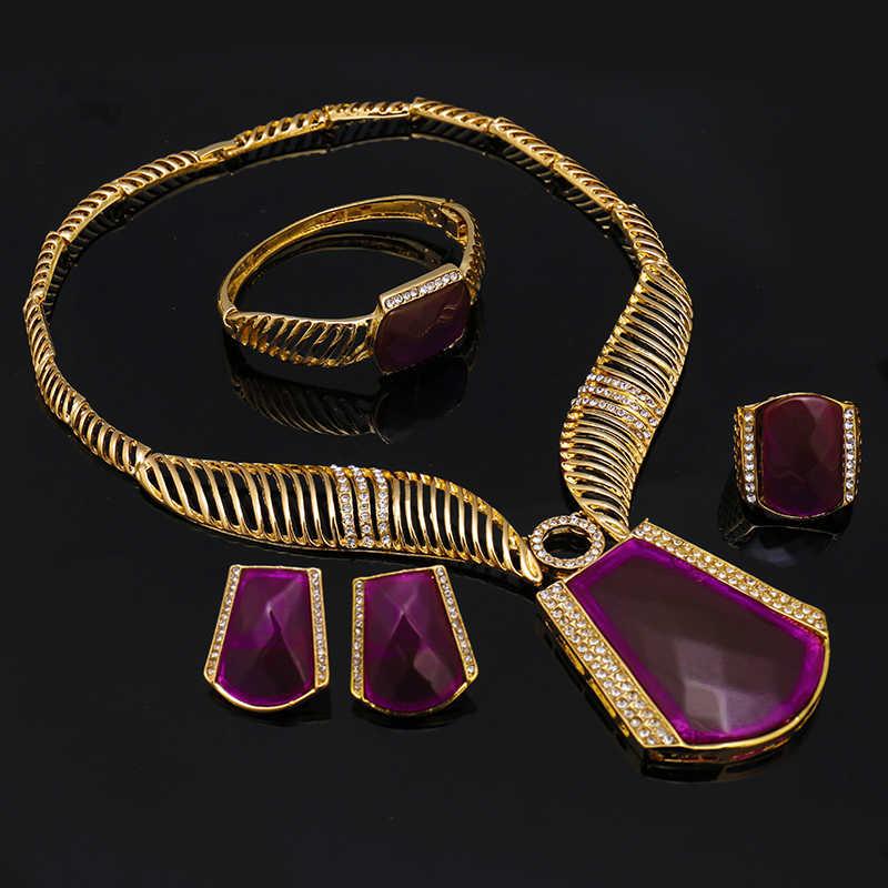 Miễn phí Vận Chuyển Nigeria Wedding Beads Phi Set Trang Sức Pha Lê Vàng nguyên chất-màu Trang Sức Bộ Phụ Kiện Đám Cưới Bên