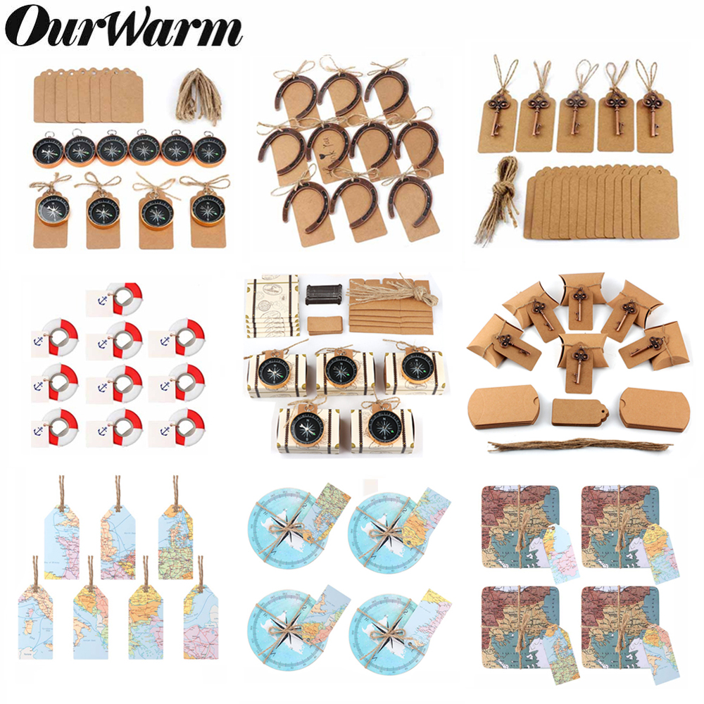 OurWarm 50pcs/set Wedding Souvenirs Vintage Key Bottle Opener + Tags Compass Wedding Gifts For Guests Party Favor Travel Themed