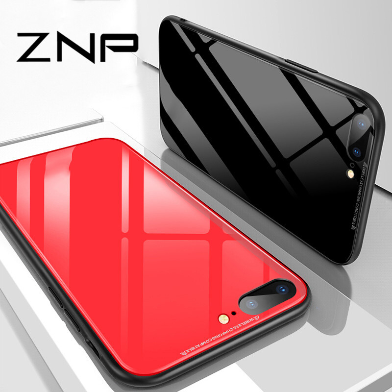 ZNP Luxury Tempered Glass Phone Case For iPhone X 8 7 6 6s Back Tempered Glass Cover Cases For iphone 6 7 8 Plus X 10 Case Shell