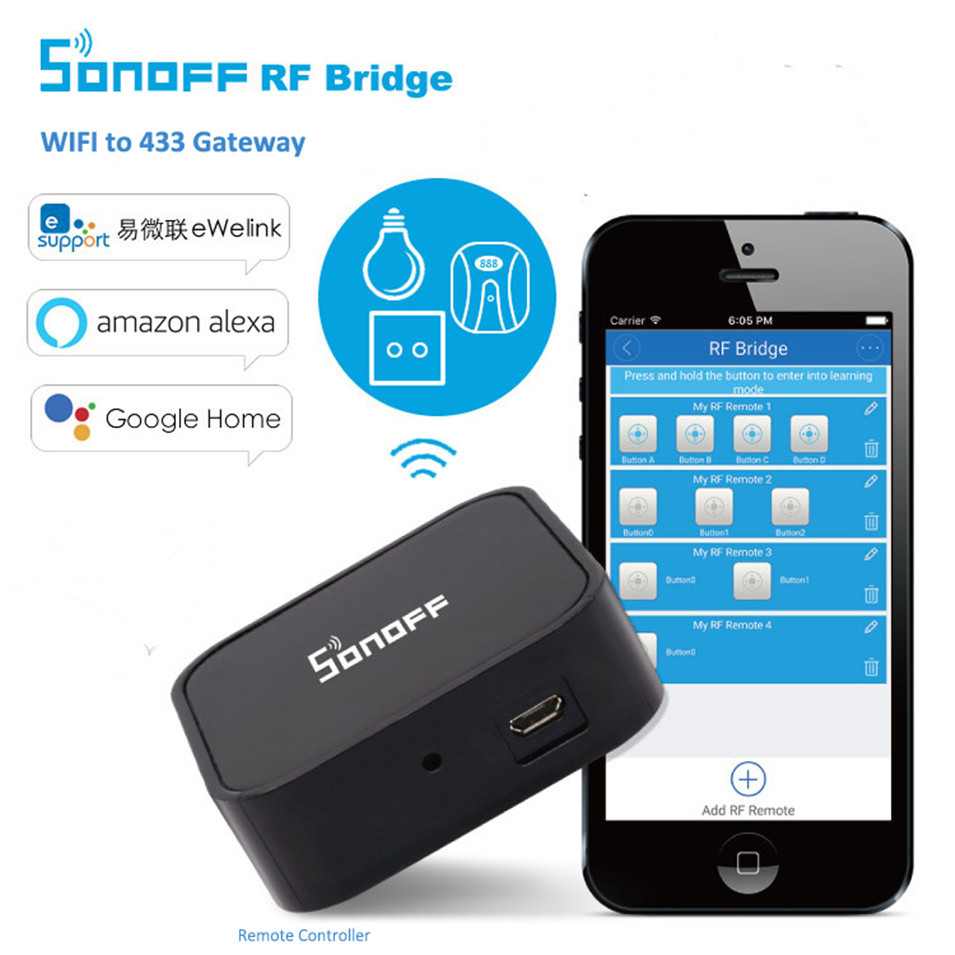 Sonoff RF Bridge Smart Home Automation Module Wifi Switch Universal Timer DIY 433Mhz Remote into WiFi Wireless for Alexa/Ewelink sonoff wireless wifi switch universal smart home automation module timer diy wifi remote control switch on off wireless timer