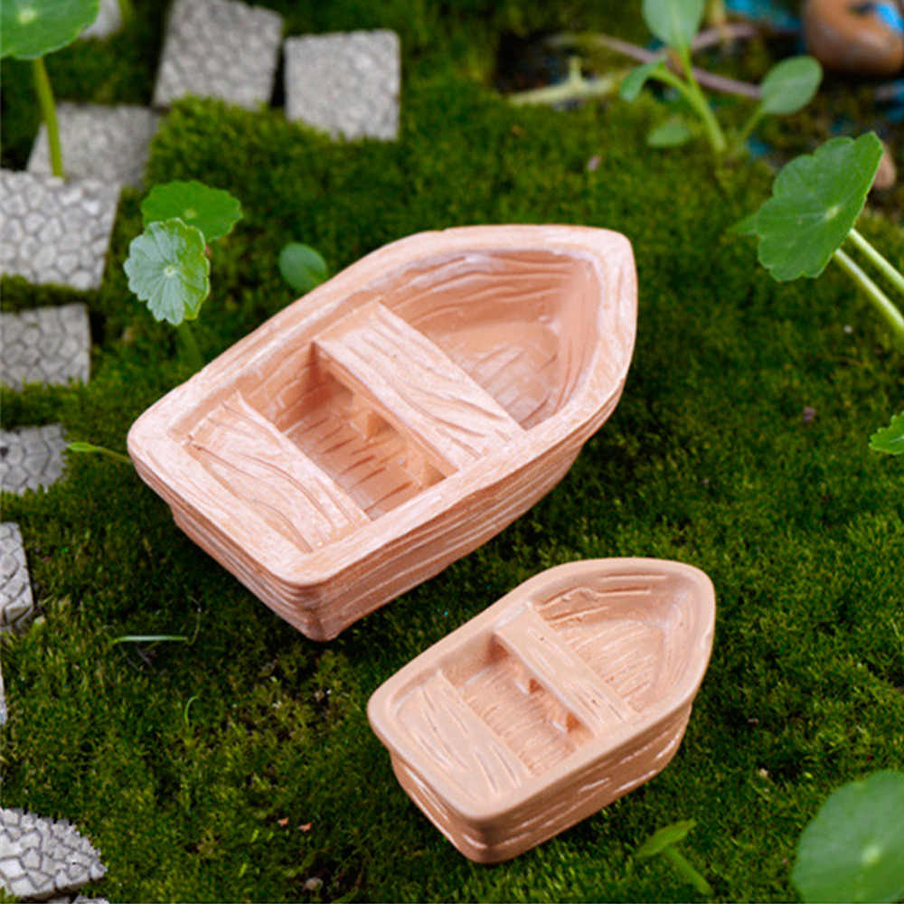 1X DIY Resin Craft Model Kleine Blaue Bootsfigur Micro Garden Boat Toy Ornament