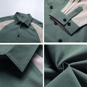Image 5 - Koszula męska rękaw 3/4 Patchwork 100% bawełna lato luźne Casual Street koszule Tuxedo formalna moda sukienka koszula