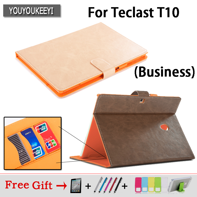 High quality Business Pu Leather Protective Case stand Cover For Teclast T10 Tablet PC,Cover Case+protector film+Stylus gifts high quality pu leather case cover for teclast p98 4g octa core for teclast x98 pro case 9 7inch tablet pc screen protector