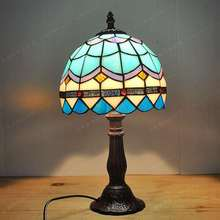 20CM European style Mediterranean small lamp Tiffany glass lamps bedroom bedside study fashion simple children's lighting 20cmsky blue hot bending glass lamps tiffany balcony and kitchen aisle simple fashion the mediterranean lamp windows and balcony