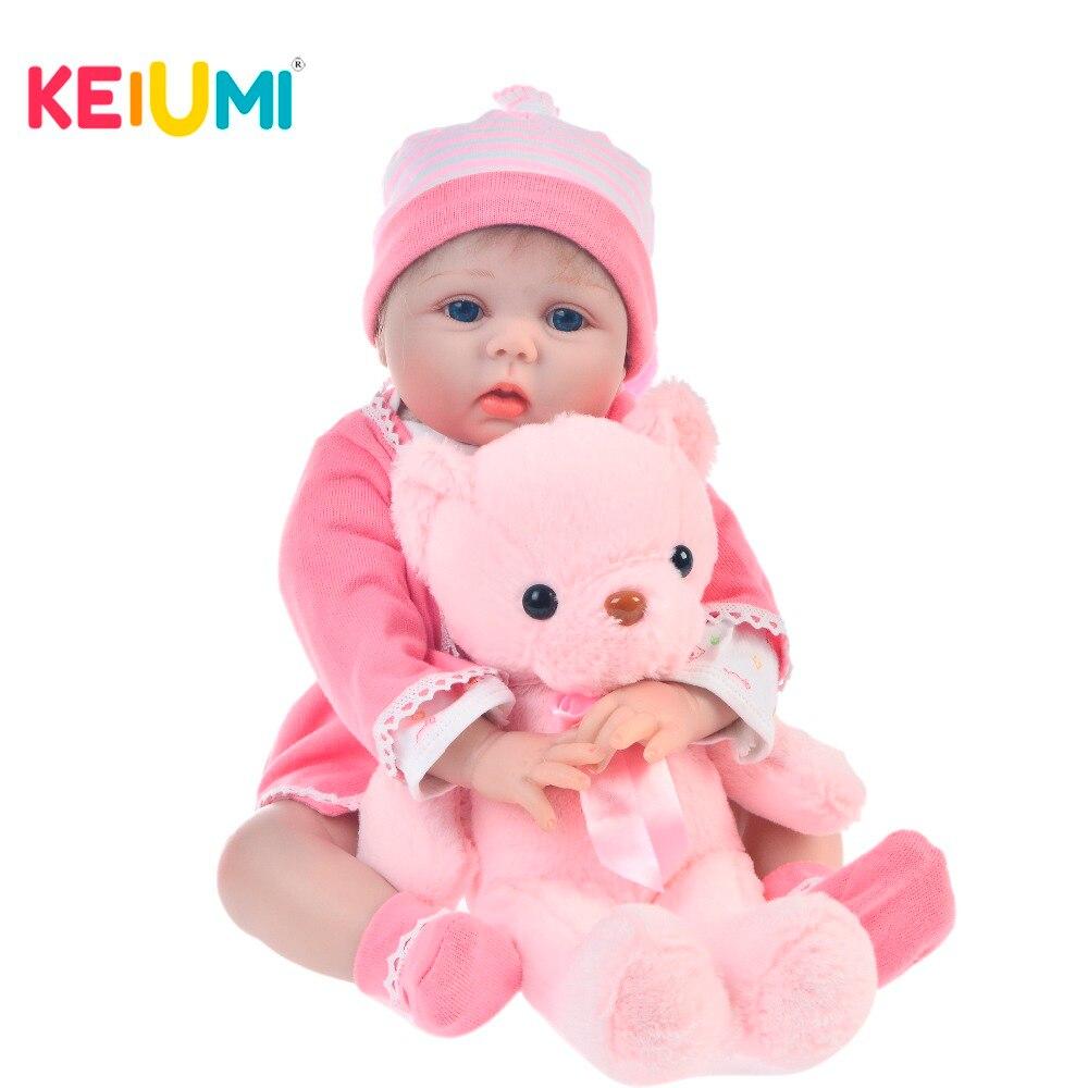 KEIUMI 2019 dość miękkie silikonowe Reborn Baby Doll 55 cm realistyczne Boneca Reborn tkaniny ciała 22 ''dla dzieci urodziny niedźwiedź niespodzianka w Lalki od Zabawki i hobby na  Grupa 1