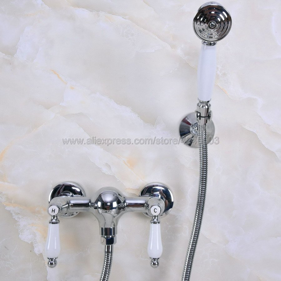 Polished Chrome Bath Faucets Wall Mounted Bathroom Basin Mixer Tap Crane With Hand Shower Head Bath & Shower Faucet Kna282 sognare wall shower faucets with hand shower head chrome polished double handle bathroom shower faucet set bath faucet tap d5206