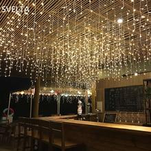 Svelta 10/8/5 متر led أضواء جليد سلسلة الجنية الأكليل أضواء led الستار عيد الميلاد لعيد الميلاد عطلة الزفاف الديكور جارلاند