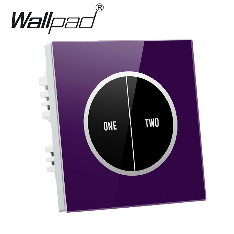 Free Shipping 2 gangs 2 way Purple Tempered Glass Touch Wall Light Switch Free customize button 110V~250V micro touch switch 50pcs lot 6 6 4 3mm micro light touch switch on off touch button touch micro switch keys button 4pin free shipping