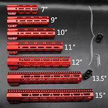 Chinese Red Anodized 7'' 9'' 10'' 11'' 12'' 13.5'' 15'' inch Length M-lok Clamping Style Handguard Rail Free Float Mount System trirock red anodized 10 12 15 inch keymod free float handguard rail monolithic top rail fit 308 7 62 7075 aluminum barrel nut
