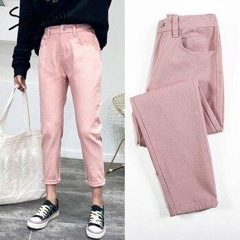 17f4097f715 Pantalones vaqueros de cintura alta Mujer harem jeans Rosa beige marrón  negro plus tamaño 32 mamá
