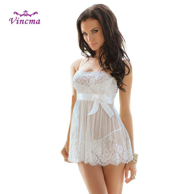 S M L XL 2XL 3XL 4XL 5XL 6XL White Bow Transparent Dress Plus Size Women Hot Erotic Sexy Lingerie Lenceria Porno Sexy Underwear