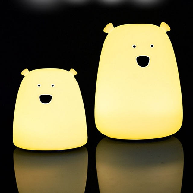 Colorful Lamps Bear Silicone LED Night Light Chargeable Battery Touch Sensor Light Children Baby Kids Night Lamp Bedroom Light