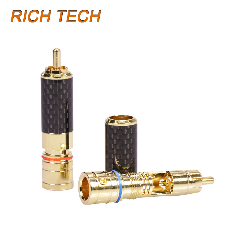 12pcs/lot RCA Connector High Quality Copper Gold Plated RCA Male Plug 8MM Cable Connector Speaker Plug 6 Pairs Red+Blue gold plated copper bfa 4mm banana plug male speaker connector 4pcs lot