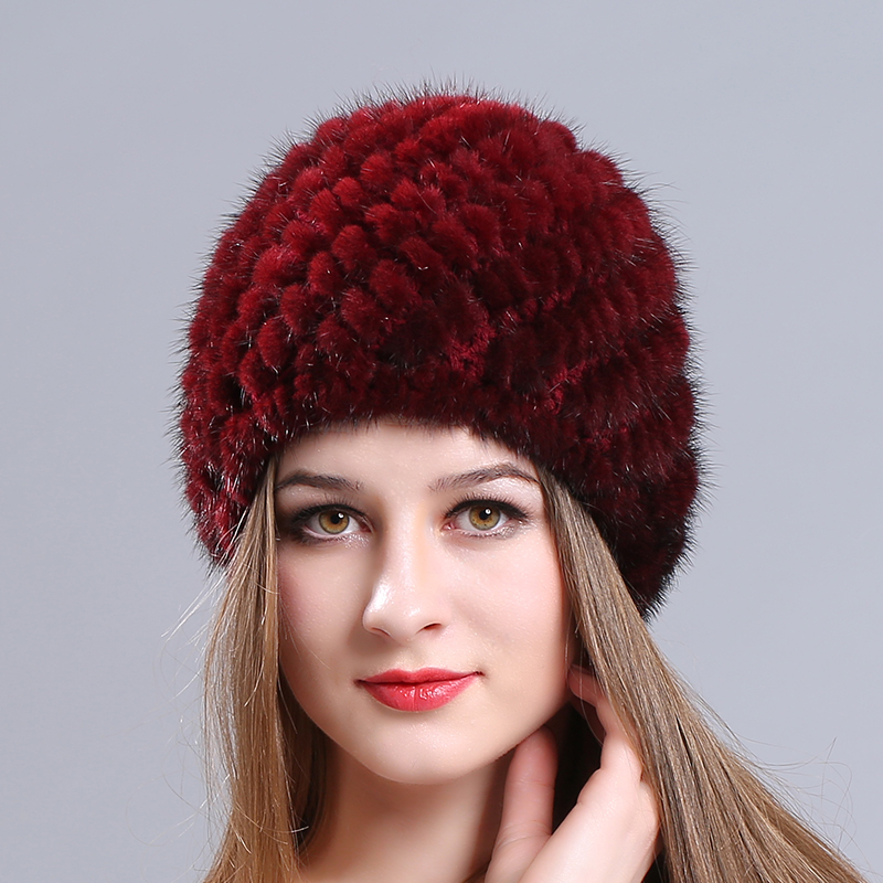 Striped Knitting cap Mink fur Knitted s