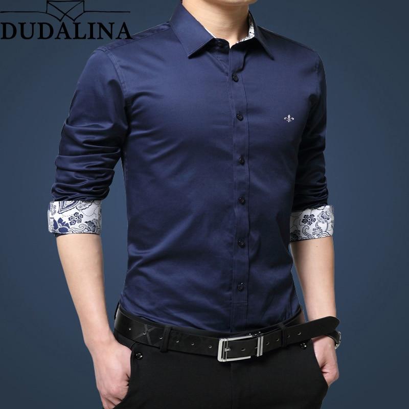 3f0b82d7828 Dudalina рубашка мужская 2019 с длинным рукавом мужская рубашка 100% хлопок  Повседневная Высококачественная деловая Мужская рубашка Slim Fit дизайнер.