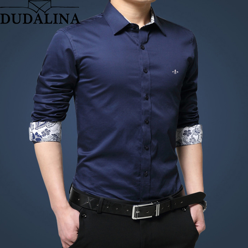 Dudalina Shirt Men 2019 Long Sleeve Male Shirt Casual High Quality Business Man Shirts Slim Fit Designer Dress