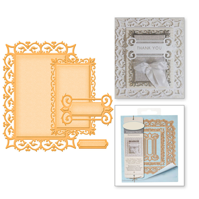 Eastshape Rectangle Lace Edge Frame Metal Cutting Dies Renaissance Vine Background Scrapbooking Decorative Card Embossing Crafts