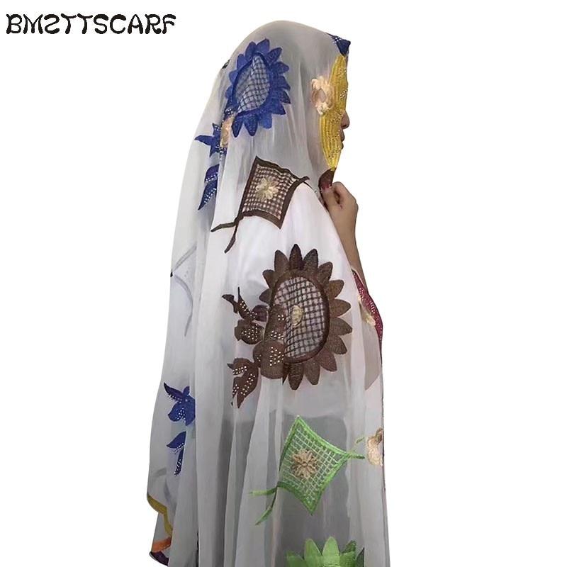 Novo africano feminino cachecol bordado muçulmano grande