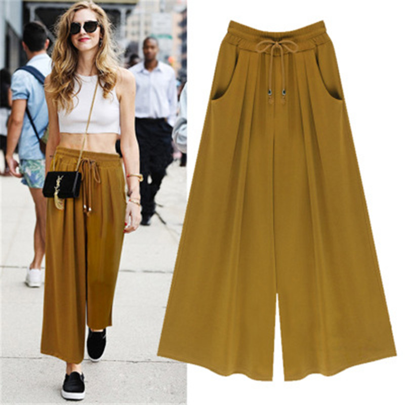 Oversized 2019 Spring/Summer Wide Leg Pants Women's Clothing Fashion Loose Casual High Waist Stretch Wide Leg Pants Skirt M-6XL