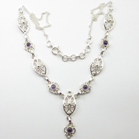 Silver Purple Amethysts Gemset Necklace 18.9 ! Fine Jewelry