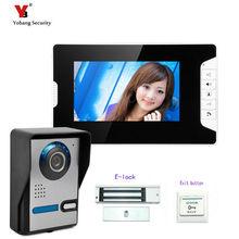 Yobang Security freeship Wired 7 inch Color Screen Door Phone Video intercom System Waterproof Door bell Camera +Electric lock