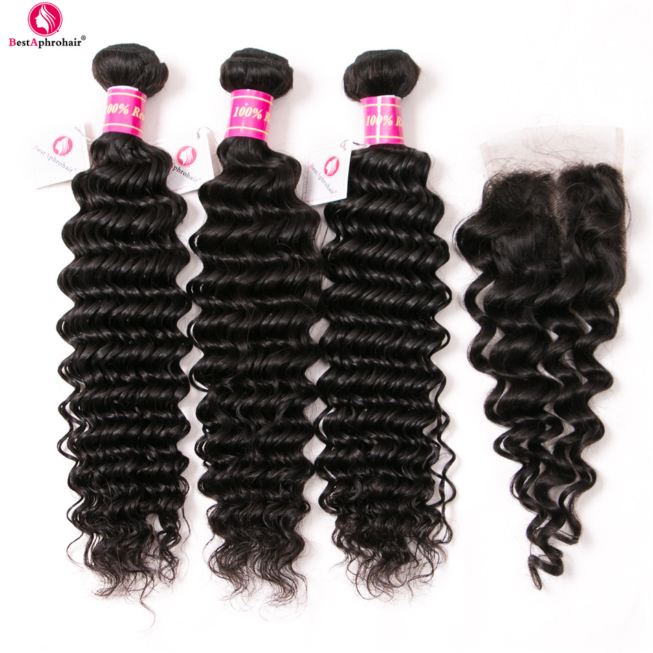 Aphro Hair Deep Wave Bundles With Closure Remy Hair Weave Brazilian Human Hair 3 Bundles With Closure 4pcs/lot Free/Middle Part